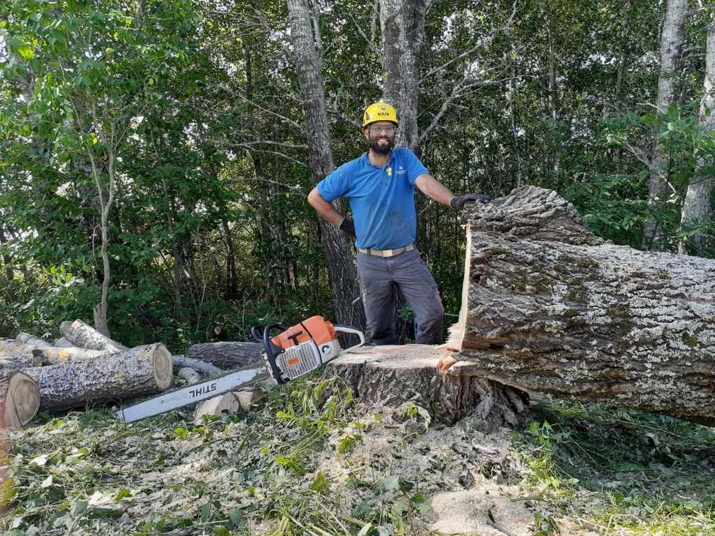 Rory Fraser stands with his hand on his hip behind the stump of a felled tree.