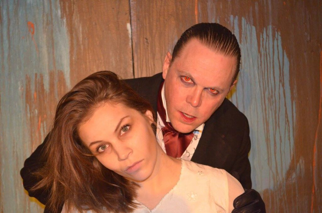 Kevin Anderson (as Dracula) and Maddy Kreuth (as Lucy Westenra) in the 2015 production of Dracula in Sackville in 2015