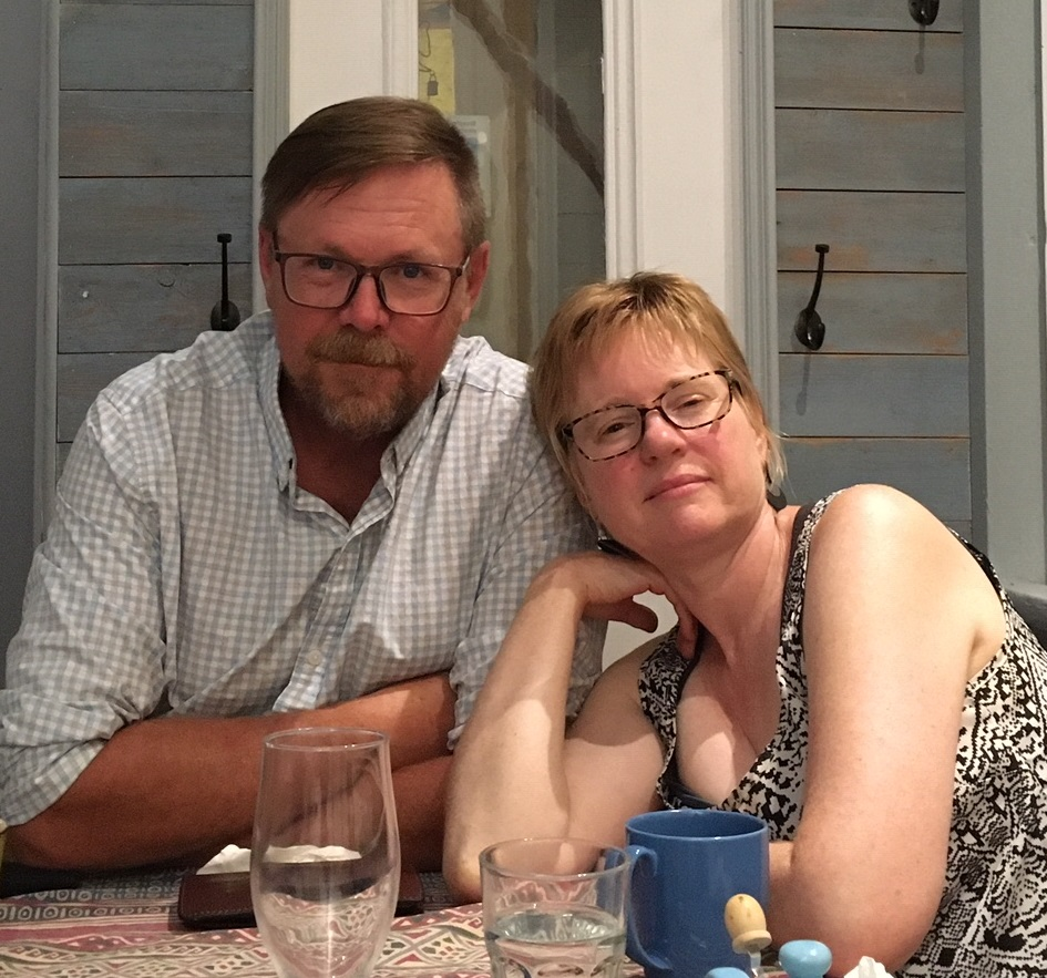 Vallie Stearns and Kevin Anderson relax after a good meal at Bistro le Chat Bleu in Baie Verte, New Brunswick.