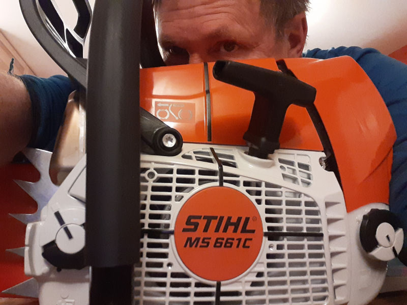 Kevin Stearns-Anderson with Stihl chainsaw