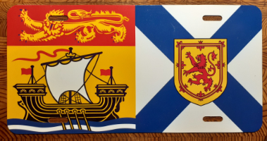 Front license plate with the crests of New Brunswick and Nova Scotia
