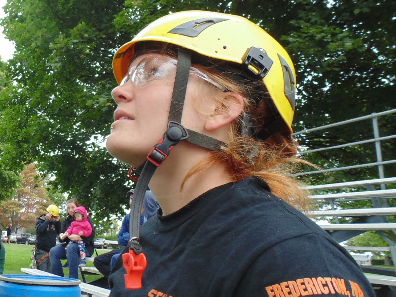 Arborist Rebecka Aurell prepares to compete in the final event of the ISA Atlantic Chapter Tree Climbers Competition in 2017 in Fredericton