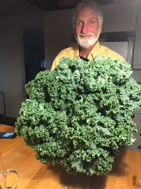Norm Hunter smiles and holds a large bunch of kale.