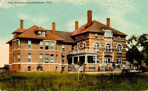 A postcard of the Prince Edward Island Hospital from 1902 showing newly planted trees.