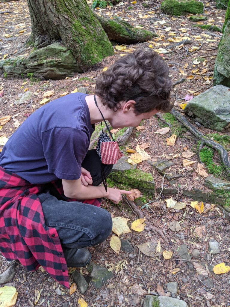 Meg kneels on a forest floor and points at a mushroom.