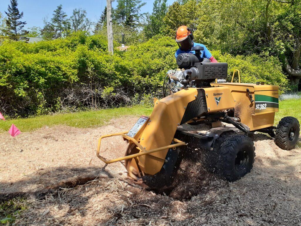 Luciano operates a stumper.